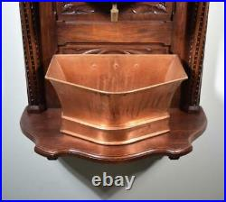 Antique French Neo Gothic Highly Carved Oak and Copper Lavabo with Face Washstand