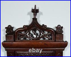 Antique French Neo Gothic Umbrella Stand in Solid Oak Wood withWrought Iron