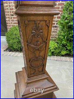 Antique French Oak Pedestal Plant Stand Display Table Gothic Bronze