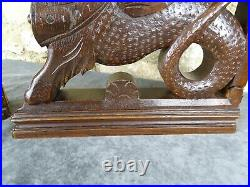 Antique French Pair Large Gothic Dragon Griffin Wood Carved Oak Cabinet Support