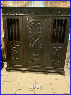 Antique French Revival Hand Carved Cabinet With Sculptures