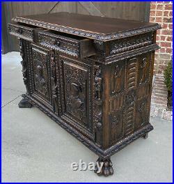 Antique French Sideboard Server Buffet Cabinet Gothic Renaissance Oak 19th C