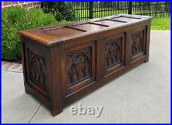 Antique French Trunk Blanket Box Coffee Table Chest Oak Gothic Shields c. 1920s