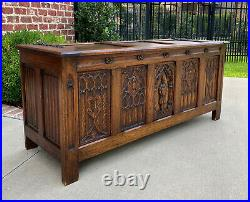 Antique French Trunk Blanket Box Coffee Table Oak Gothic Revival Strap Hinges