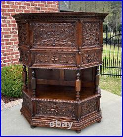 Antique French Vestry Cabinet Sacristy Altar Vestment Wine Cabinet Bar Catholic