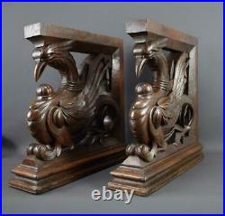 Antique French Victorian Furniture Gothic Hand Carved Fabulous Birds Oak Wood