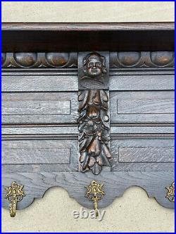 Antique French Wall Shelf Cherub Plate Rack Hat Coat Rack Copper Pot Rack 63