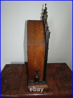 Antique Gothic American Oak Architectural Mantel Clock Turned Finial Pointed Top