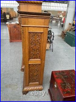 Antique Gothic Bookcase Secretary Desk Carved Oak Side By Side