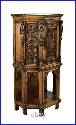 Antique Gothic Communion Cabinet Carved Religious Figures Knight