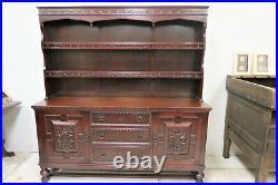 Antique Gothic Influenced Dark Oak Welch Cupboard Buffet With Plate Rack Topper