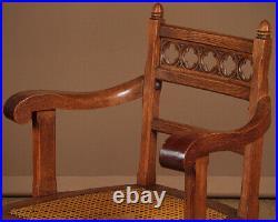 Antique Gothic Oak Desk Armchair c. 1890