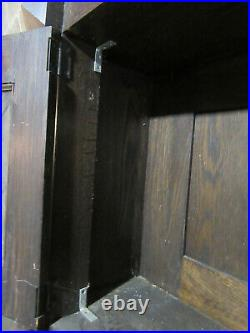 Antique Gothic Oak Fireplace Mantel Carved Faces 60 X 79 42 Open Salvage