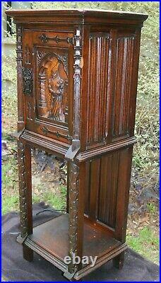 Antique Gothic Oak Vestry Vestment Spiritual Wine Cabinet with Lightolier Badge