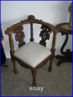 Antique Gothic Revival Chair carved Winged Maiden Corner chair carved griffins