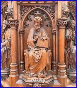 Antique Gothic Revival Church Pulpit Christ, Saints Matthew, Mark, Luke & John