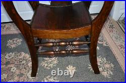 Antique Gothic Style Carved Oak U Shaped Chair withNorth Winds Face