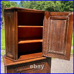 Antique Gothic Traditional Victorian Carved Oak Curio Cabinet with Heraldry Motif