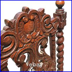 Antique Gothic Victorian Quartersawn Oak Barley Twist Parlor Chairs