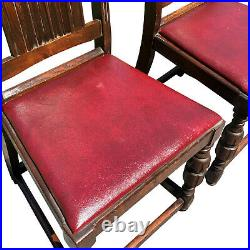 Antique Gothic Victorian Tall Back Bishop Chairs with Heraldry Shelf A Pair
