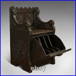 Antique Hall Seat, Scottish, Oak, Settle, Gothic Revival, Victorian, 1880