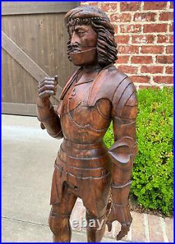 Antique Knight Saint Carved Statue Figure St. George Soldier Medieval Armor Oak