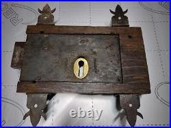 Antique Large Gothic Door Lock Wood+Iron-Church Chapel-No KeyOr Keeper SOLID OAK