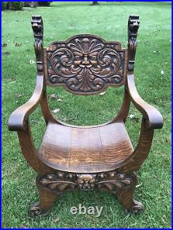 Antique Oak Chair Heavily Carved Lion Head Gargoyle Old Man Winter Castle Gothic