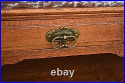 Antique Oak Gothic Revival Marble Top Server Buffet Art Nouveau Carved Details
