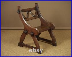Antique Pair 19th. C. Gothic Revival Hall Chairs c. 1870