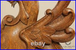 Antique Pair Oak Carved Griffin Gothic Revival Style Grotesques
