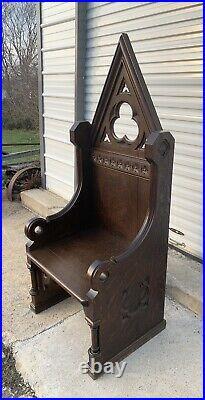 Antique Quartersawn Oak High Back Throne Chair Gothic Church Masonic Santa Photo