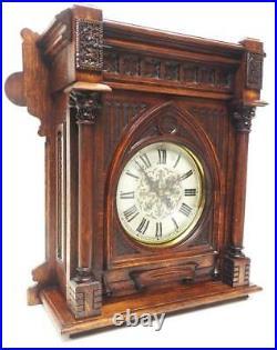 Antique Rare German Striking Bracket Clock by Lenzkirch Gothic Oak Glazed Case
