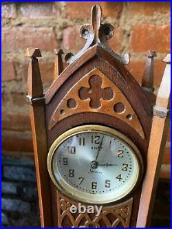 Antique Rare Sessions Carved Oak Mantle Gothic Clock from 1885-90