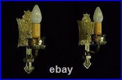 Antique Restored Circa 1915 Brass Acorn & Oak Leaf Tudor Gothic Wall Sconces