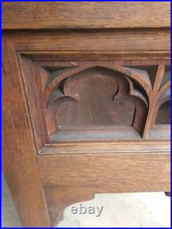 Antique Set 3 Heavy Oak Gothic Medieval Altar Bench Throne Chairs can deliver