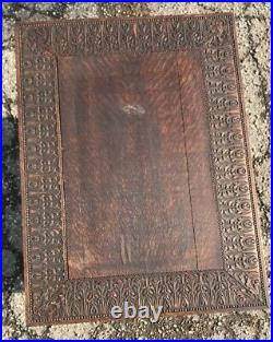 Antique Tiger Oak Figural 1890s Carved Maiden Gothic Library Table RJ Horner
