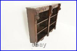 Antique Victorian Gothic Carved Oak Library Open Bookcase, Scotland 1880, B2208