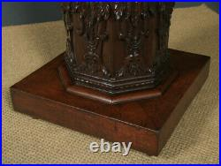 Antique Victorian Oak Gothic Style Carved Octagonal Occasional Pedestal Table
