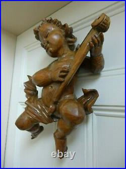 Antique Vintage wooden hand carved Cherub wall hanging art high 40 cm/16'' Rare