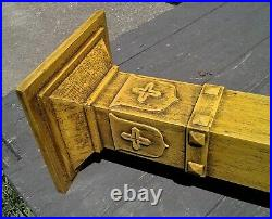 Antique Yellow Oak Cross and Shield Arts & Crafts Mission Gothic Plant Stand