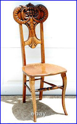 Antique c1900 American Golden Tiger Oak North Wind Gothic carved ONE of 2 CHAIR