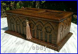 Antique c1900 Gothic Arts & Crafts Oak Jewellery Box Table Casket 15