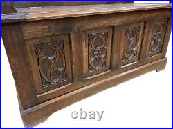 Attractive French Gothic Bench, Oak, 19th Century, High Back #11522