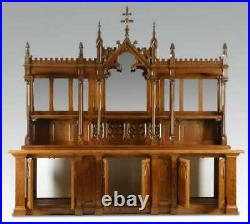 Back Bar, Buffet, Gothic Revival Style Carved Oak Display with Mirrors, Amazing