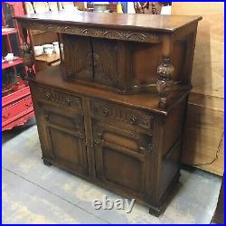 Beautiful Carved English Court Cupboard Cathedral Dark Oak Sideboard Medieval