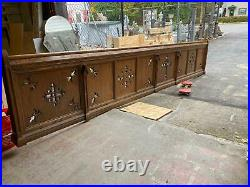 Beautiful Carved Gothic Oak Church Pew Fronts From A Closed Church Cc2