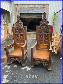 Beautiful Carved Monumental Oak Gothic Throne Chairs From A Closed Church -gc1