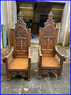 Beautiful Carved Monumental Oak Gothic Throne Chairs From A Closed Church -gc3