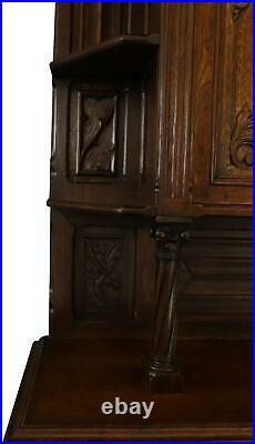 Buffet Gothic Antique French 1850 Oak Wood Handsomely Carved 4-door 2-d